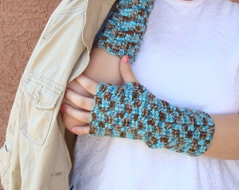 Chocolate Brown and Turquoise Blue Fingerless Gloves for Women, Crochet Arm Warmers, Wrist Warmers, Fingerless Mittens, Hoooked