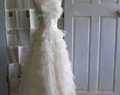 1950s Wedding Dress, 50s Tea Length Ivory Wedding Dress with Tulle  XS SM