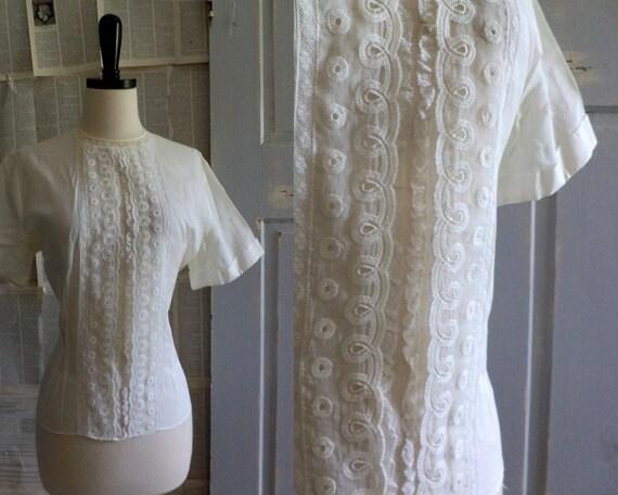 1940s White Blouse White Lace Blouse 40s Cotton Top Size Large