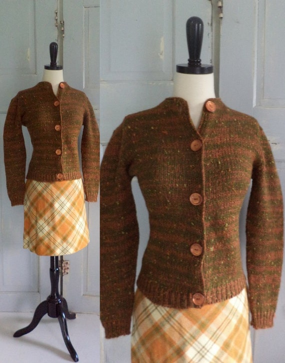 1960s Sweater Skirt 60s Plaid Mini Skirt Dress Set in Burnt Orange and Ochre Fall Fashion Womens Size Small