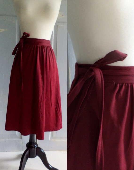 1970s Red Skirt Burgundy Red Skirt Wraparound Hippie Disco Womens Size Small