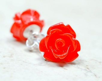 Bright Red Rose Earrings, Small Red Flower Earrings, Cottage Chic Flowers Stud Earrings, The Rosie