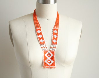 Navajo Geometric Statement Necklace - Bead Woven Orange and White