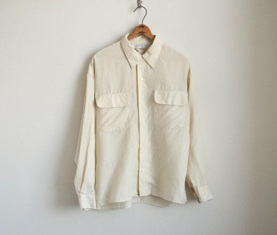Minimalist Ivory Silk Shirt with Pockets - Button Down Collared Shirt