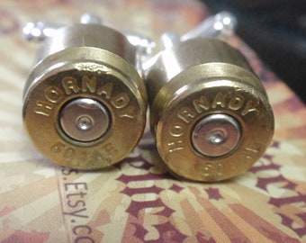 Bullet Shell Cufflinks .50 cal 2 tone Hornady (50 Caliber) Special Forces Huge Desert Eagle Pistol Round  Up Cycled Repurposed Gold Silver