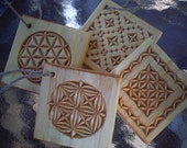 4 Chip Carved Christmas Ornaments