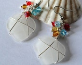 Sea Glass Jewelry, Wire Wrapped Jewelry, Rainbow in the Clouds