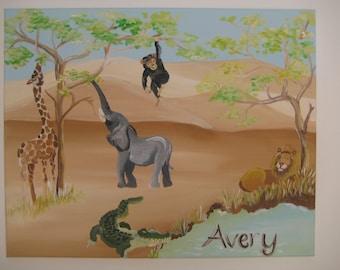 Hand painted wall art,safari animals painting,nursery wall art,safari theme painting,personalized painting,nursery wall decor,jungle animals