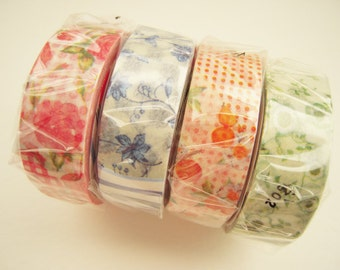 Discontinued - Flower Remix - Japanese Washi Masking Tapes / Red, Blue, Green and Orange Flowers