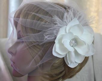 illusion tulle Birdcage veil Blusher Fascinator vintage inspired