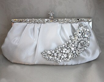 Bridal Clutch -diamond white  satin with Swarovski Crystal brooch -ready to ship