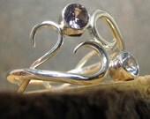 Aquamarine Alexandrite Argentium Sterling Silver Ring