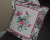 Handpainted Pink Roses on Black and White Toile Pillow Slip
