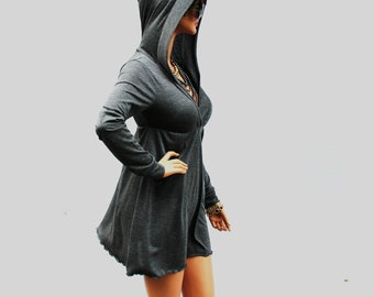 Dress / Grey Dress / Hoodie Dress / Grey Hoodie Dress / Grey Hooded Dress / Oversized Hoodie / Party Dress / Grey Dress