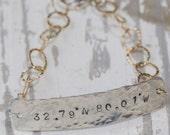Coordinate Bracelet, stamped and hammered