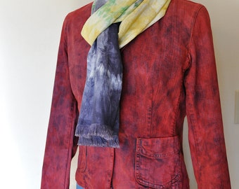 """Red Small Denim JACKET - Scarlet Red Hand Dyed Upcycled Gap Denim Blazer Jacket - Adult Womens Size 6 Small (40"""" chest)"""