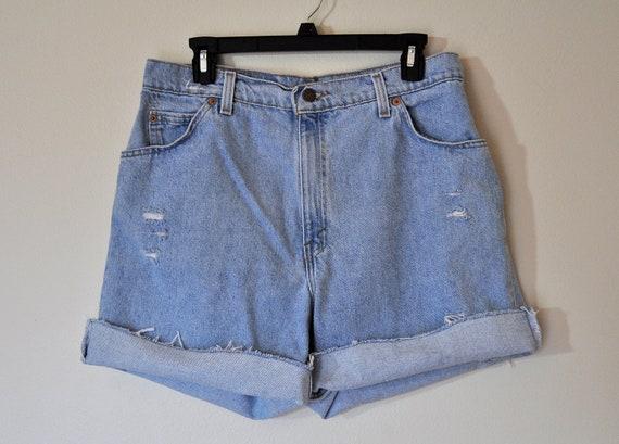 Vintage Levi's Shorts - Urban Style Denim Distressed  High Waist  High Rise Vintage Orange Label Shorts -  Size 14 (32)