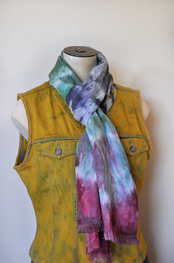 Linen Scarf - Red Navy Blue Green Yellow Multicolor Hand Dyed Tie Dye Hand Made Linen Scarf