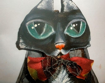 Witch's Cat art doll decoration halloween or year around