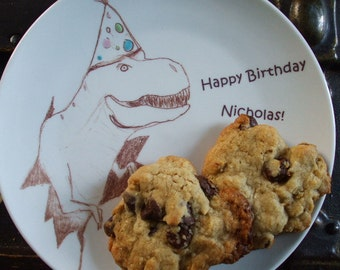 T rex, trex, personalized birthday plate, little boy birthday plate, dinosaur, party hat, dish, plate, birthday,
