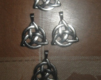 Wholesale Lot of 4 Silver Tone Irish Celtic Triquetra Pendants