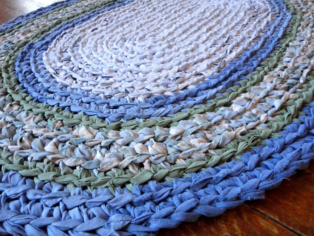 Free Crochet Pattern For Oval Rag Rug : rag rug oval recycled blue green crochet