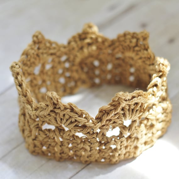 Gold Baby Crown, Newborn Photography Prop Crocheted for Princess Girls or Prince Boys