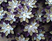Set of (6) Plum and Gold Paper Flowers