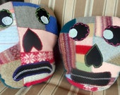 Sugar Skull Pillows, Repurposed Wool Sweater, Day of the Dead