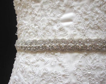 Bridal wedding dress gown crystal sash embellished belt