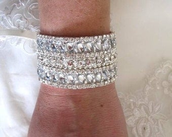 Wedding Bridal Rhinestones Crystal Bracelet Cuff with Ribbon Closure