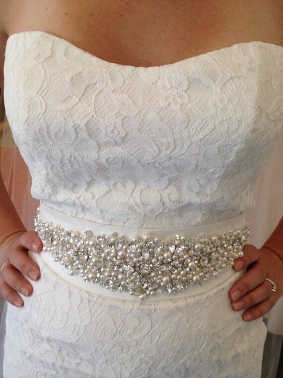 Reserved for Katherine Wedding Dress Embellished Beaded Crystal Belt Wedding Sash