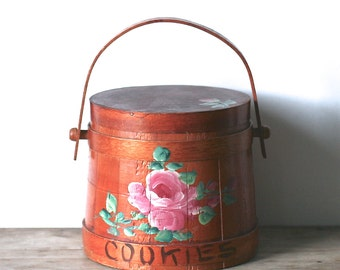 Antique Firkin Shaker Wooden Cookie Barrel Swing Handle Tole Roses
