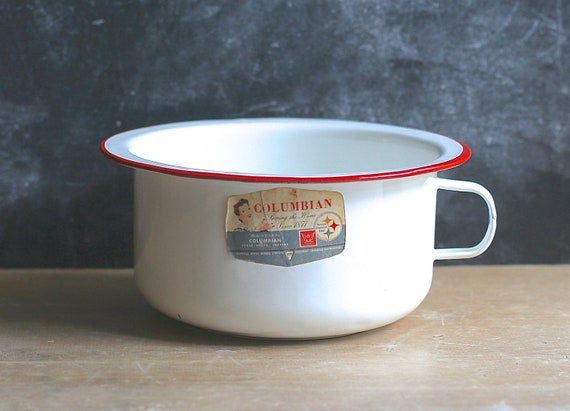 Columbian Enamelware Bowl Loop Handle White Red Rim Never Used