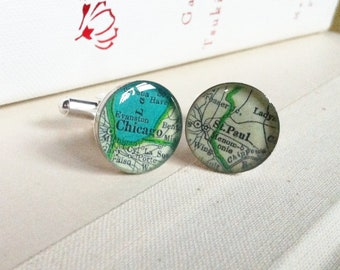 SALE - Chicago and St Paul vintage map cufflinks by Tomato-Made