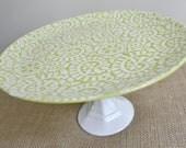 Lime Green Swirls Cake Stand / Cupcake Stand / Dessert Pedestal-As seen in BRIDES magazine