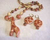Tan Kazuri Giraffe Pendant Necklace and Earrings Set