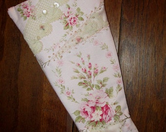 Shabby Pink Rose Barkcloth Vintage Lace Crazy Quilt Christmas Stocking Large