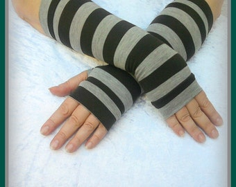 Fingerless  gloves  with strips in gray and dark olive colors cotton jersy