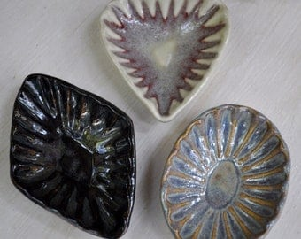 Ceramic dipping bowl from repurposed vintage cookie molds