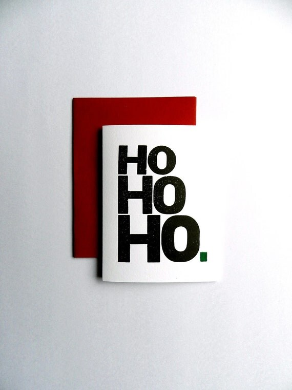 Christmas Cards, Holiday Letterpress Ho Ho Ho, Simple Design, Santa Clause Theme, Black and White, Red Envelope, Set of 4
