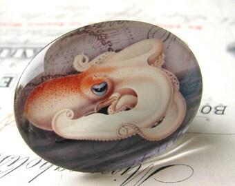 Original artwork, octopus, handmade 40x30mm glass oval cabochon, horizontal cab,  sea creature, ocean monster, white, orange, grey