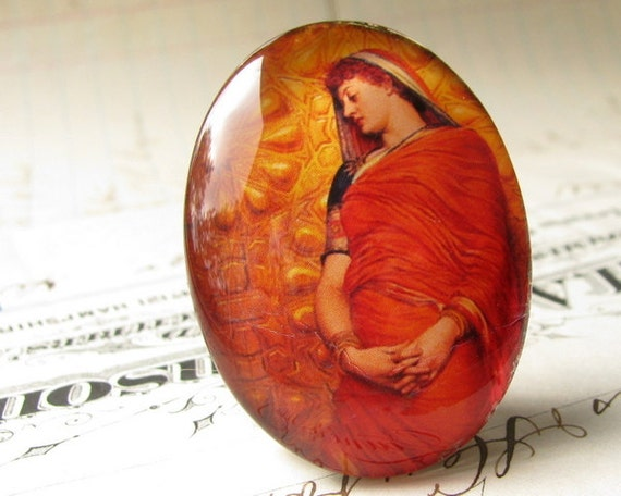 Woman draped in tangerine orange sari - handmade 40x30 mm glass oval cabochon, 30x40, 40x30 mm - mustard yellow, golden gold  1ST162
