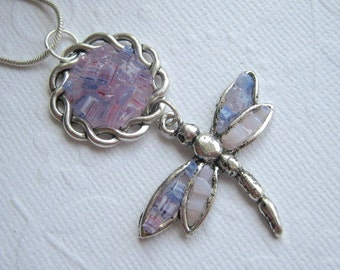 Glass Dragonfly Necklace, Insect Pendant, Water Bug Jewelry, Purple Flower, Pink Stained Glass, Custom Color, Sterling Silver