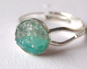 Stained Glass Small Druzy Ring, Sea Blue Druzy, Stained Glass Jewelry