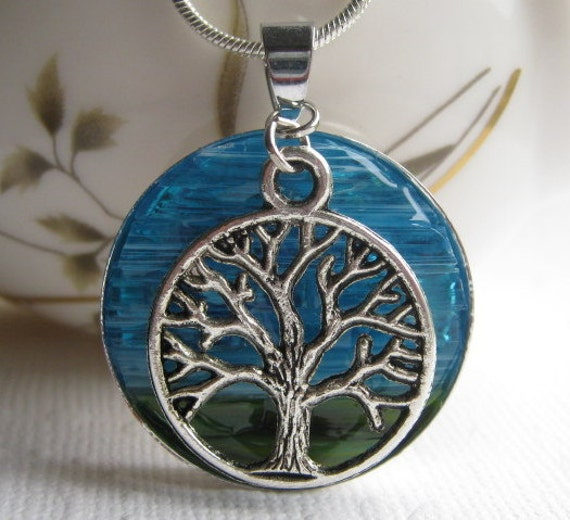 Glass Art Jewelry Necklace, Blue Sky Necklace,  Necklace Tree Art,  Mosaic Tree, Stained Glass Tree