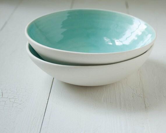 Two Aqua Porcelain Bowls