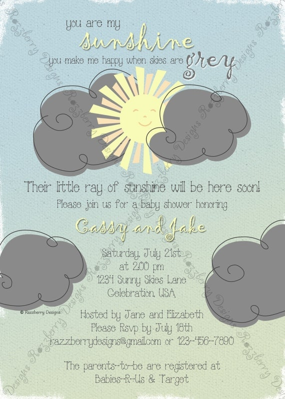 you are my sunshine baby shower invitation sunshine theme baby shower