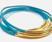 Turquoise and Gold-Plated Bead - Set of 5 - Leather Bangle Bracelets ... by  B A L O O S