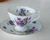 Antique Made in Occupied Japan Spring violets hand painted china cup & saucer SET FREE SHIPPING